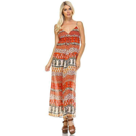 [the_nomadic_attic]:Women's Boho Printed Maxi Tank Dress