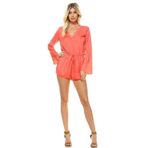 [the_nomadic_attic]:Women's Long Sleeve Waist Tie Romper