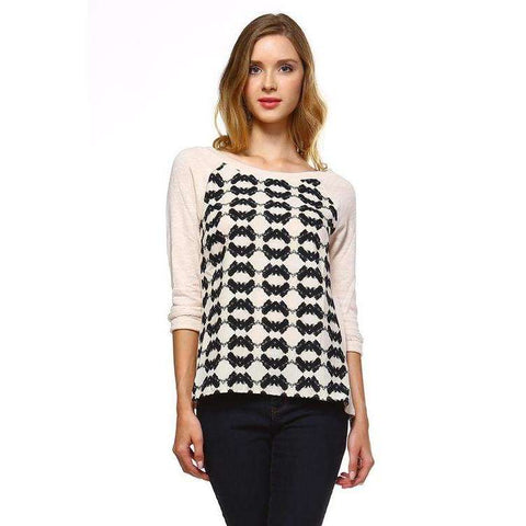 [the_nomadic_attic]:Women's Knit to Woven Printed Sweater Top