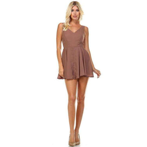 [the_nomadic_attic]:Women's Sleeveless V-Neck A-Line Romper