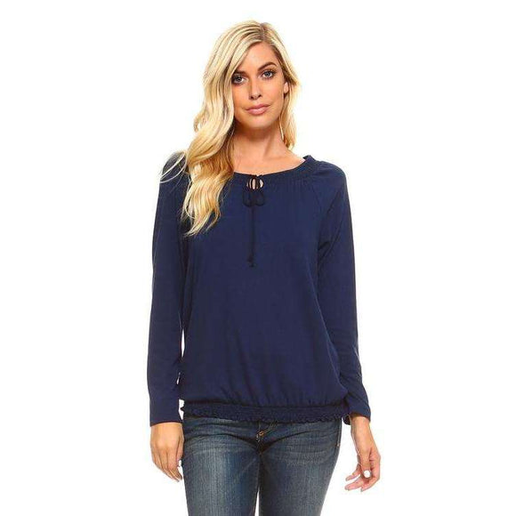 [the_nomadic_attic]:Women's Long Sleeve Navy Peasant Top