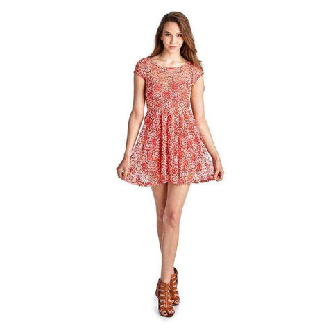 [the_nomadic_attic]:Women's Sleeveless Floral Lace Dress