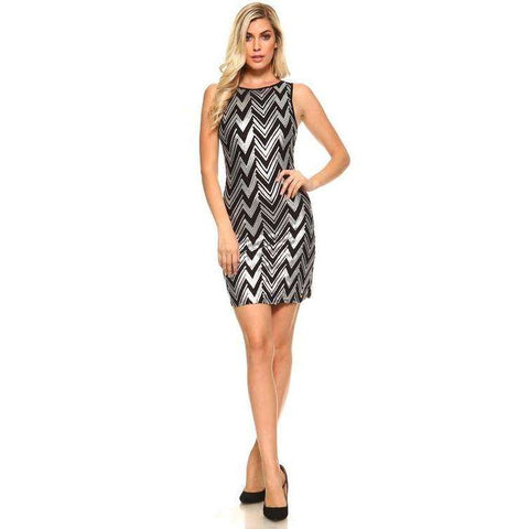Women's Chevron Sequined Scoop Back Dress - The Nomadic Attic