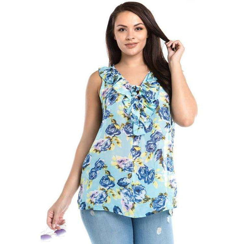 [the_nomadic_attic]:Women's Plus Size Sleeveless Floral Layered Tie