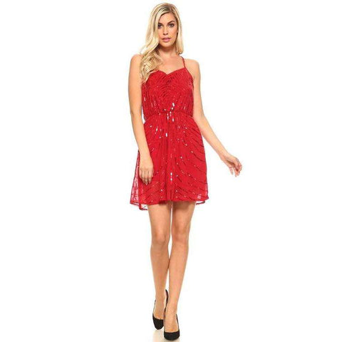 [the_nomadic_attic]:Women's Short Sweetheart Sequin Dress