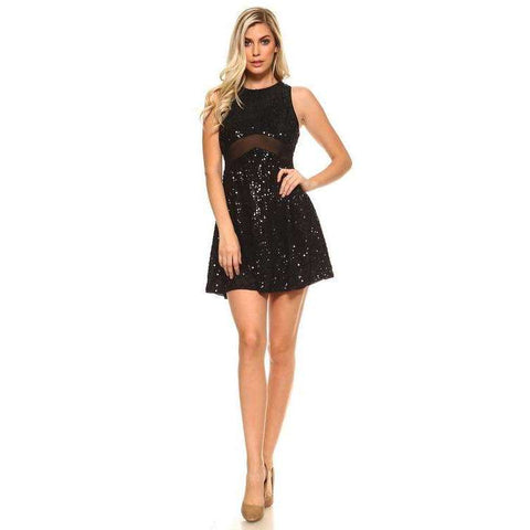 Women's Short Sequinned Dress With Mesh - The Nomadic Attic