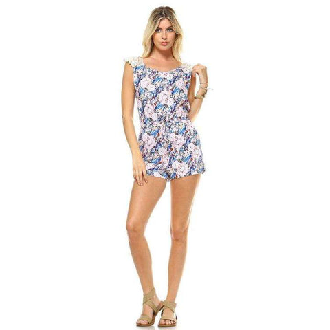 Women's Printed Crochet Romper - The Nomadic Attic