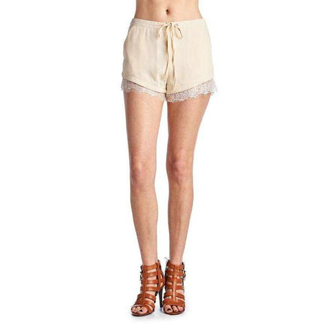 [the_nomadic_attic]:Women's Woven Tie Lace Trim Shorts