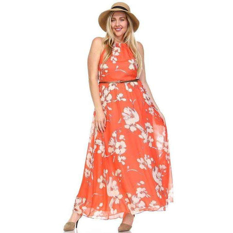 Women's Belted Floral Maxi Dress - The Nomadic Attic