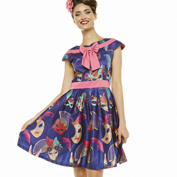 'Ariana' Navy Masquerade Print Swing Dress by LindyBop - The Nomadic Attic