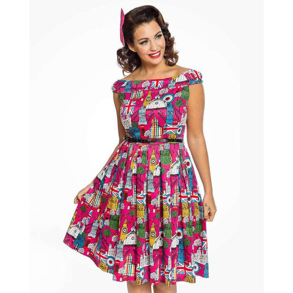 'Christie' Pink London City Print Swing Dress by LindyBop - The Nomadic Attic