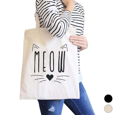 Meow Canvas Shoulder Bag Cute Cat Lover Gifts Foolable School Tote - The Nomadic Attic