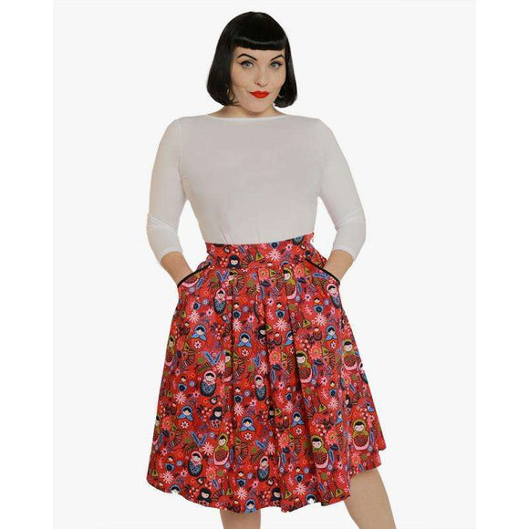 'Daniella' Pink Russian Doll Print Swing Skirt by LindyBop - The Nomadic Attic