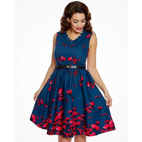 'Daria' Cotton Midnight Poppy Swing Dress by LindyBop - The Nomadic Attic