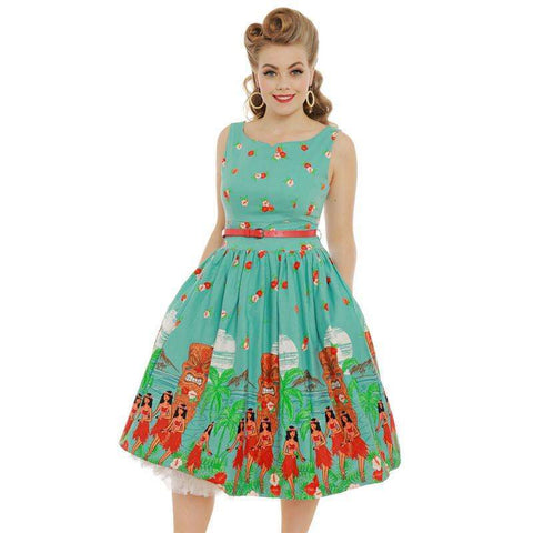 'Delta' Teal Tiki Print Swing Dress by LindyBop - The Nomadic Attic