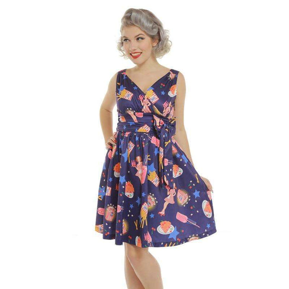 'Harper' Purple Pop Diner Print Swing Dress by LindyBop - The Nomadic Attic
