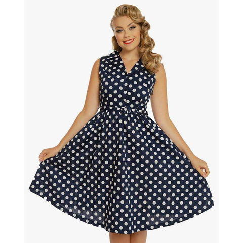 Matilda Navy Polka Dot Print Dress by LindyBop - The Nomadic Attic