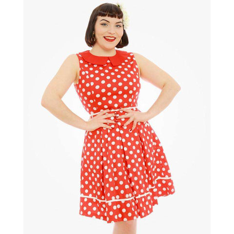 Molly Sue Red Polka Dot Print 1950's Dress by LindyBop - The Nomadic Attic