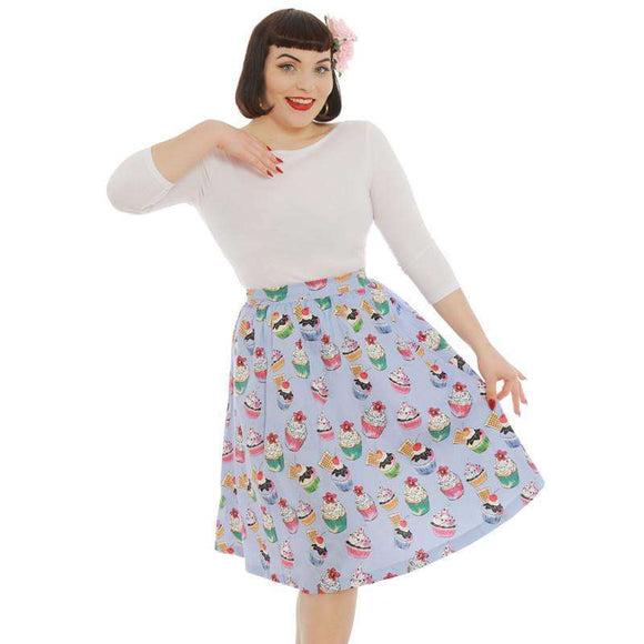'Pryia' Blue Cupcake Print Swing Skirt by LindyBop - The Nomadic Attic
