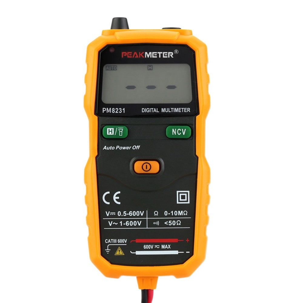 PEAKMETER PM8231 Portable Mini Auto Digital Multimeter AC/DC Voltage Resistance Continuity Measurement