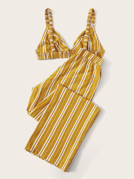 Triangle Bralette Top & Striped Pants Set