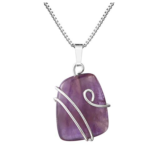 Amethyst Natural Gemstone Pendant Necklace