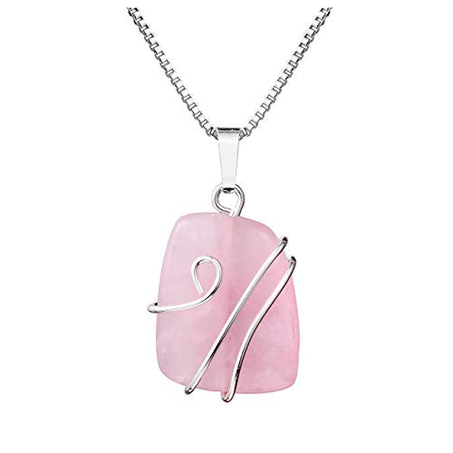 Rose Quartz Natural Gemstone Pendant Necklace