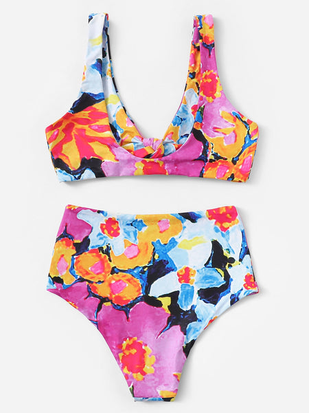 Random Floral Top With High Waist Bikini Set