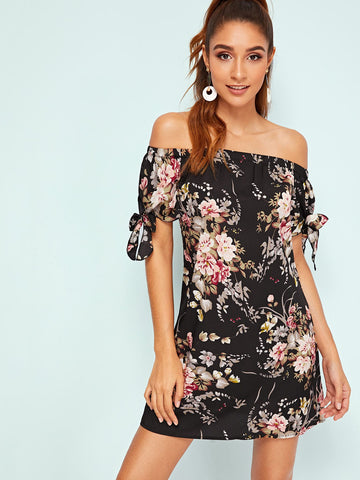 Botanical Print Tie Cuff Off Shoulder Dress