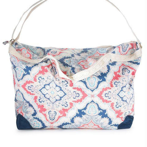 Karen Blue Multicolor Floral And Lace Duffle Bag