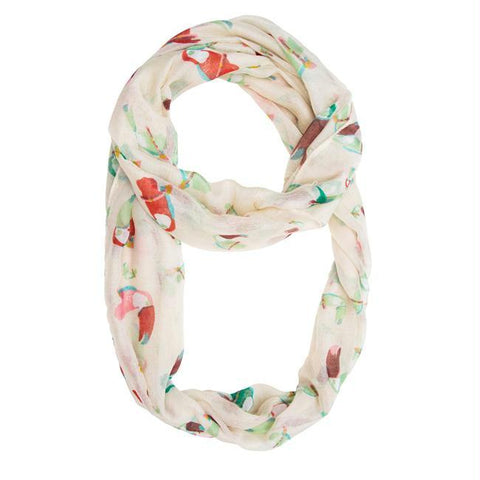 White Shauna Toucan Infinity Scarf
