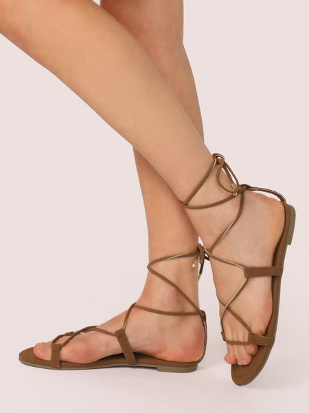 Ankle Wrap Lace Up Gladiator Style Flat Sandals