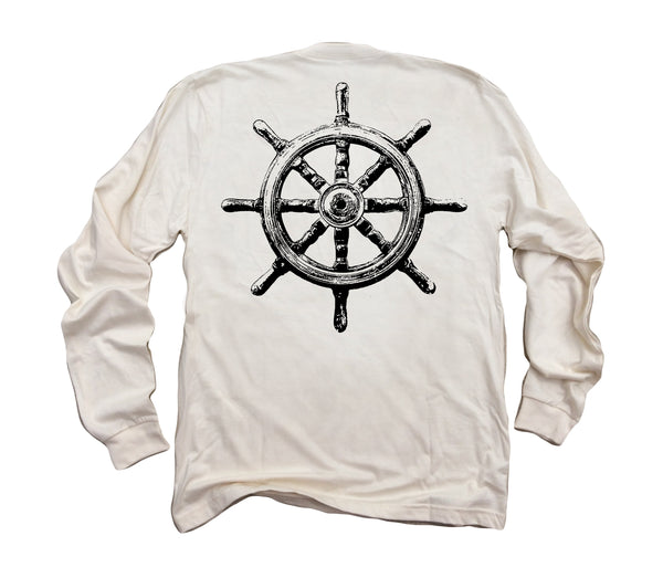 Captain's Ship Wheel ll: Organic Fine Jersey Long Sleeve T-Shirt in Unbleached Natural