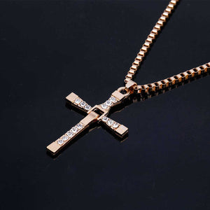 Gold Iced Out Cross Necklace