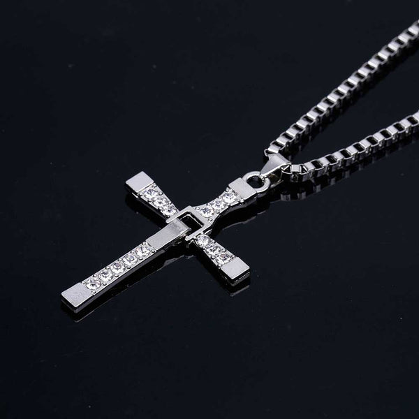 Silver Iced Out Cross Necklace