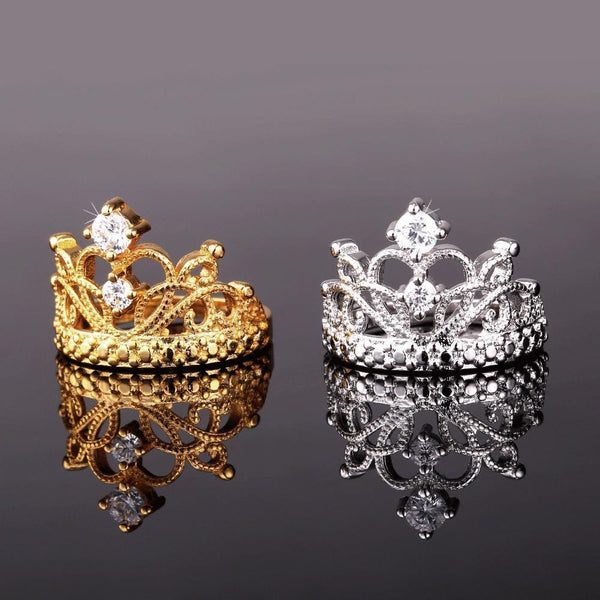 gold and silver Tiara Ring