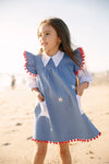 Pom Pom Billie Blue Bishop Dress
