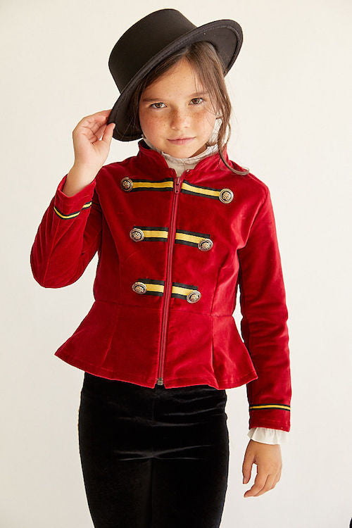 Charlotte Rae Red Velvet Military Jacket