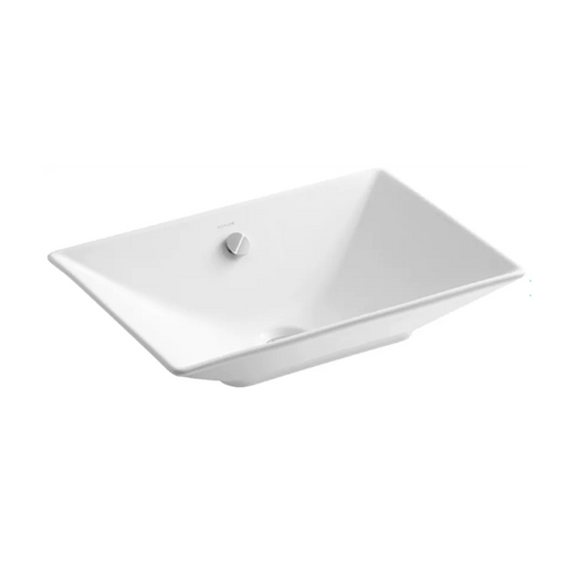 Rêve Rectangular Vessel Ceramic Bathroom Sink with Overflow