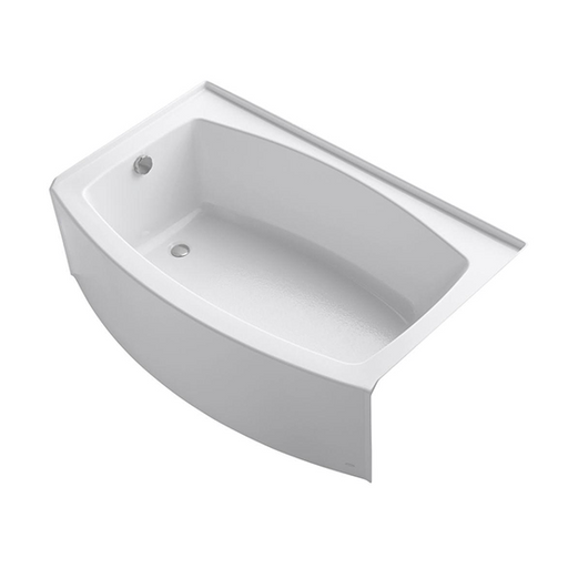 "Expanse 60"" x 32-38"" Curved Alcove Bath with Integral Flange and Right / Left-Hand Drain"