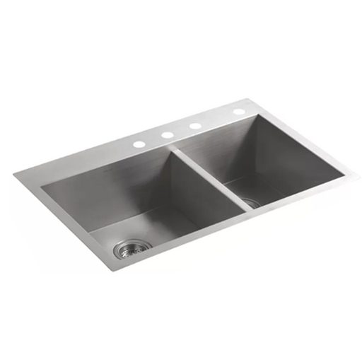 Vault Top-Mount or Under-Mount Large and Medium Double-Bowl Kitchen Sink