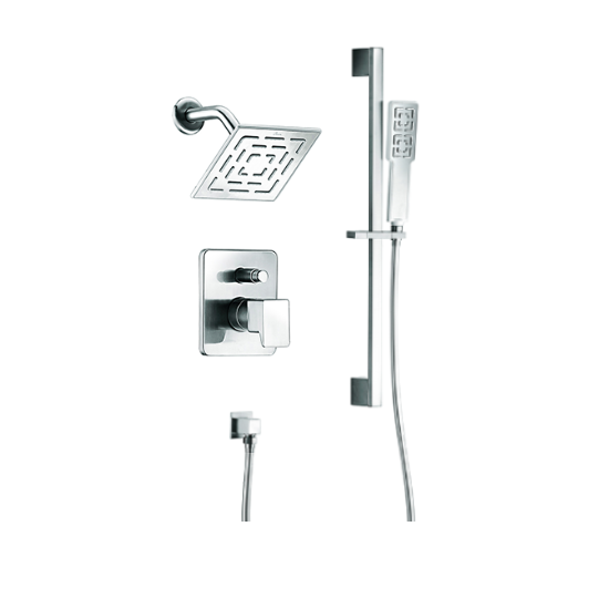Acadia Square Wall Mounted Rain Shower Head With Slide Bar Hand Held Shower  Combo Set