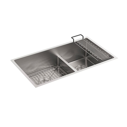 Strive Under-Mount Double-Bowl Kitchen Sink with Sink Rack