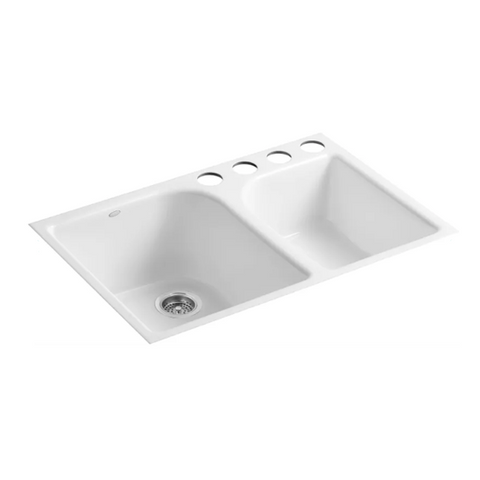 Executive Chef Tile-In Large and Medium High and Low Double-Bowl Kitchen Sink with 4 Faucet Holes