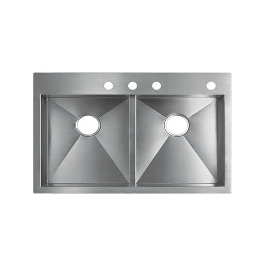 Vault Top-Mount or Under-Mount Double-Equal Bowl Kitchen Sink