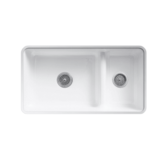 Iron Tones Top-Mount or Under-Mount Smart Divide Large Medium Double-Bowl Kitchen Sink