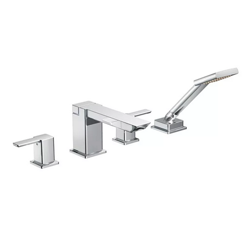 90 Degree Chrome Two-Handle High Arc Roman Tub Faucet Includes Hand Shower