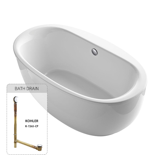 Sunstruck Oval Freestanding Bathtub with Fluted Shroud and Centered-Drain