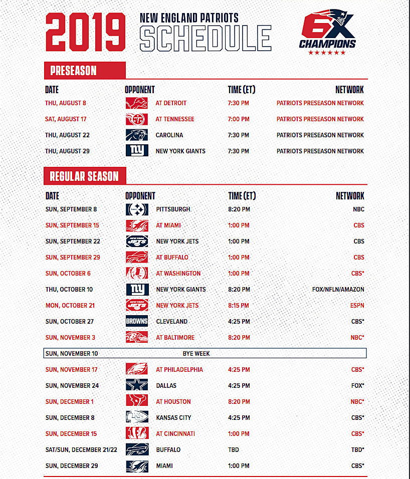 It's just a photo of Old Fashioned Printable Patriots Schedule
