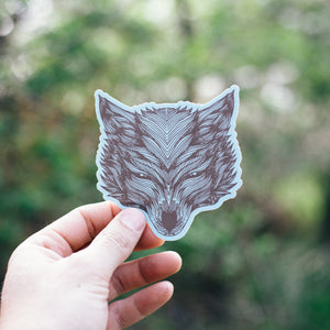 Symmetrical Wolf Sticker